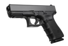 Black Gun Pistol Isolated On W...