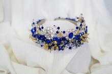 Rhinestones Blue Colored Crown. Handmade Head Adornment