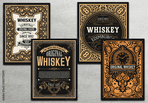 4 vintage whiskey label cards buy this stock template and explore