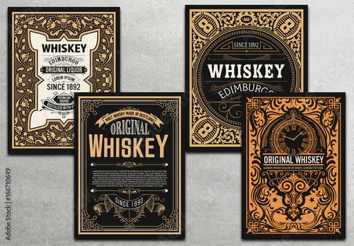 4 Vintage Whiskey Label Cards