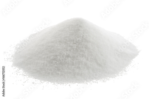 Heap of sea salt isolated on white background.