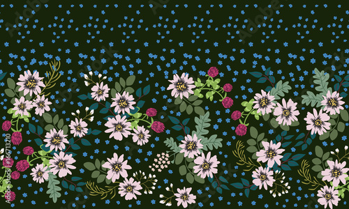 Seamless Folk Border In Small Wild Flowers Country Style