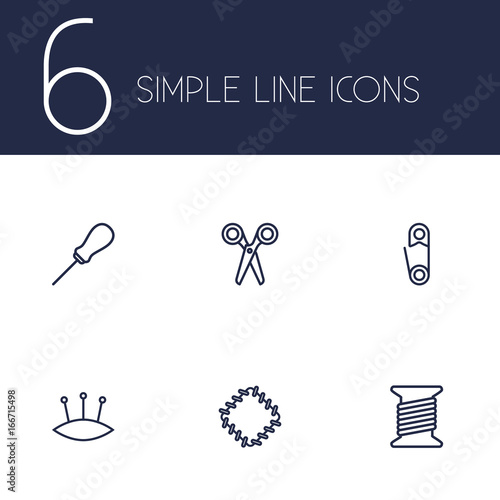 Set Of 6 Stitch Outline Icons Set Wallpaper Mural