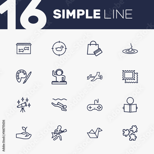 Set Of 16 Hobbie Outline Icons Set Wallpaper Mural
