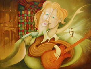 Fototapeta Muzyka / instrumenty Colorful surreal abstract faces and guitar