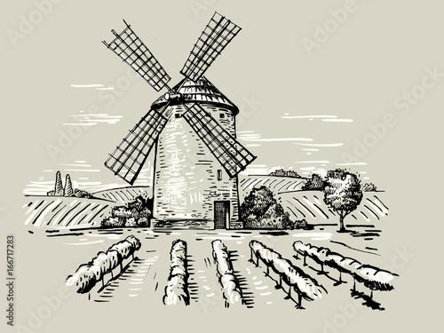 Obraz na płótnie illustration of a mill