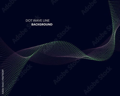 Fotobehang Fractal waves Elegant abstract vector dot wave line futuristic style background template