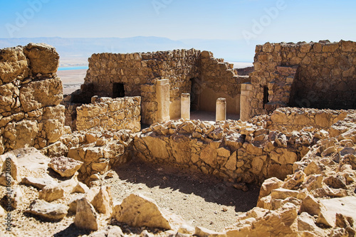 Ruins of the grand residence or the commandant's residence of Masada Fortress, I Fotobehang
