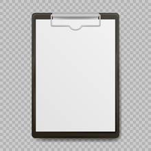 Black Clipboard With Blank Whi...