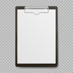 Black clipboard with blank white sheet attached on transparent background. Vector illustration.