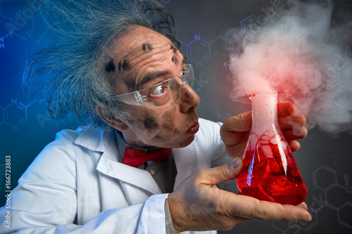 astonished scientist with explosive experiment