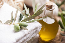 Olive Oil Soap And Bath Towel.