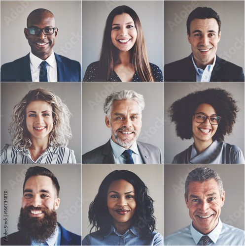 Fotografie, Obraz  Smiling group of ethnically diverse professional businessmen and
