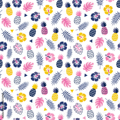 Cute Seamless Floral Vector Background Pattern With Hibiscus Flowers Pineapples And Tropical Leaves In Pink