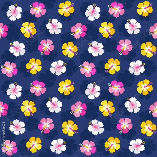 Cute Seamless Vector Background Pattern With Colorful Hibiscus Flowers In Pink Yellow And Navy Blue