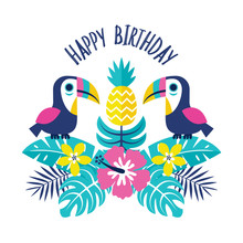Colorful Party Invitation Template Or Greeting Card With Toucans, Pineapple And Tropical Flowers And Leaves.  Text Reads It's Party Time. For Kids, Cards, Invitations, Tags, Social Media Banners.