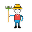 Farmer holding a green rake, vector icon isolated.