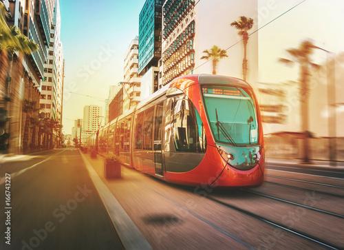 фотография view of a moving tram in Casablanca - Morocco