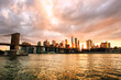 New York, USA. View of Manhattan bridge and Manhattan skyline in New York, USA