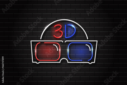 d6a8631f94 Vector realistic isolated glowing neon retro sign of 3D glasses for  decoration and covering. Concept