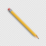 Vector realistic isolated wooden yellow pencil on the transparent background for decoration and covering.