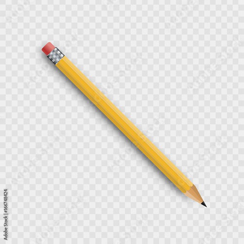 Slika na platnu Vector realistic isolated wooden yellow pencil on the transparent background for decoration and covering