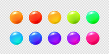 Vector Set Of Realistic Isolated Sphere Balls On The Transparent Background For Decoration And Covering.