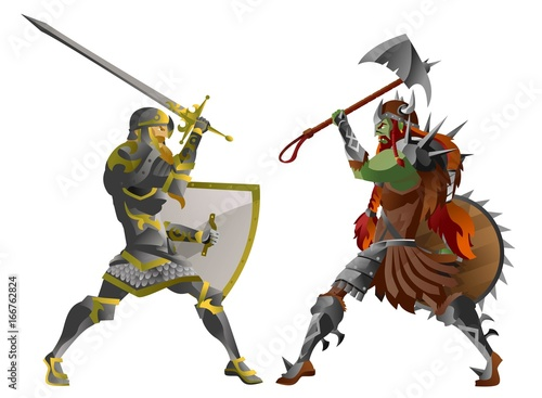 fantasy knight with sword fighting a green orc troll monster Canvas Print