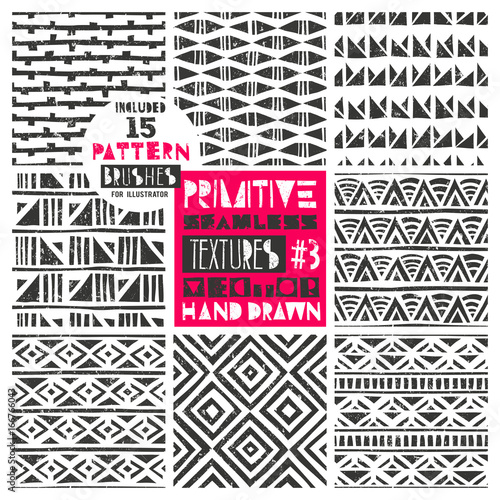 Set of 8 primitive geometric patterns collection  Includes