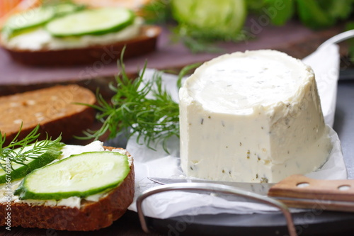 Delicious soft cheese with greens Poster