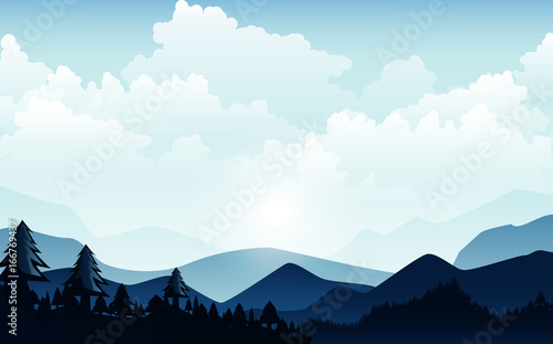 Tuinposter Lichtblauw Vector illustration, Landscape view with the sky, clouds, mountain peaks, and forest. for the website background