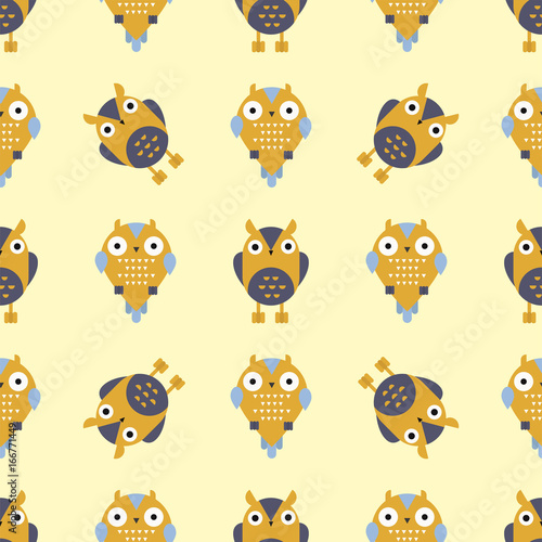 obraz dibond Cartoon owl bird cute character seamless pattern sleep sweet owlet vector illustration.
