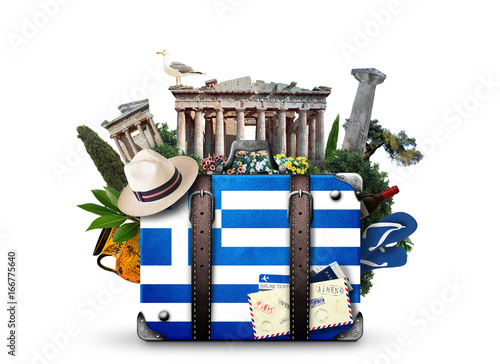 Canvas Prints Athens Greece, vintage suitcase with Greece landmarks