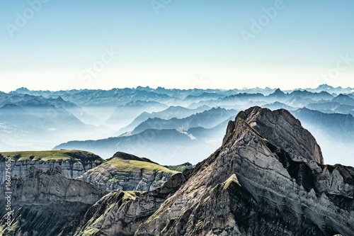 Photo Stands Black Mountain view from Mount Saentis, Switzerland , Swiss Alps.