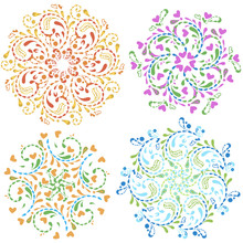 Spring Set Of Decorative Circular Floral Patterns