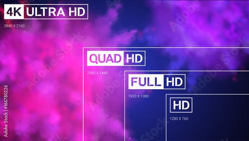 8K Ultra HD, 4K UHD, Quad HD, Full HD vector resolution presentation Canvas Print