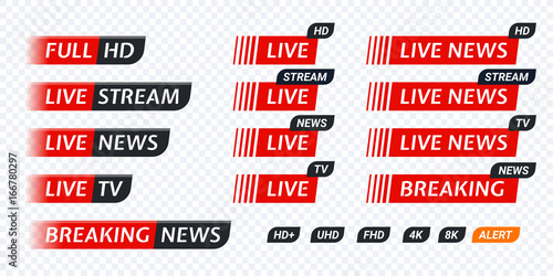 Fotografering Live stream TV news tag icon. Video symbol live broadcasting