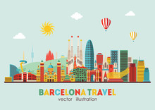 Barcelona Skyline Detailed Sil...