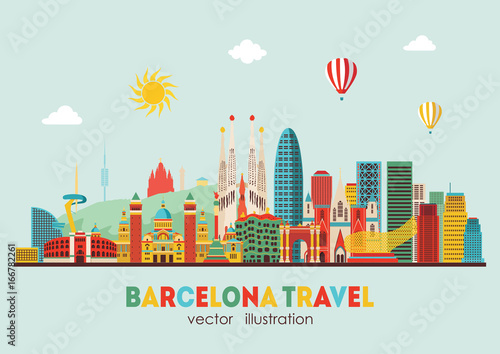 Poster Bleu clair Barcelona skyline detailed silhouette. Vector illustration - stock vector