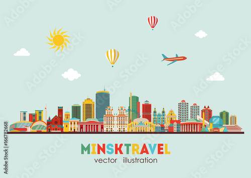 Printed kitchen splashbacks Light blue Minsk city detailed skyline. Vector illustration - stock vector