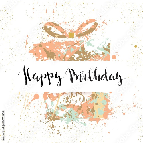 Astounding Happy Birthday Hand Painted Watercolor Greeting Card Cute Happy Funny Birthday Cards Online Overcheapnameinfo