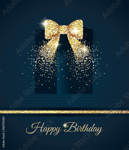 Happy Birthday Elegant Card With Gift And Gold Bow Birthday Gold