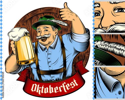Vászonkép Man holding glass of beer in traditional german bavarian clothes Trachtenhut, Lederhosen on beer festival Oktoberfest