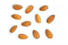 Almond Nuts On Isolated White ...