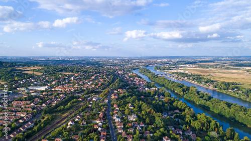 Photo aérienne d'Andrésy, dans les Yvelines, France Tablou Canvas