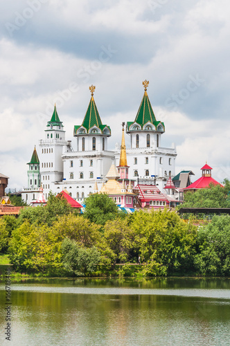Views of the Izmailovo Kremlin, from the island of the Silver-Grape pond. Russia, Moscow
