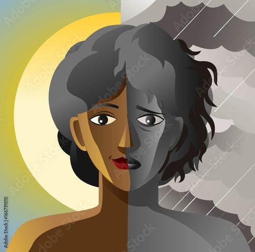 Fényképezés split face double personality bipolar sad and happy african woman in sun and clo
