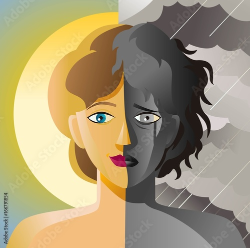 split face double personality bipolar sad and happy woman in sun and cloudy stor Canvas Print