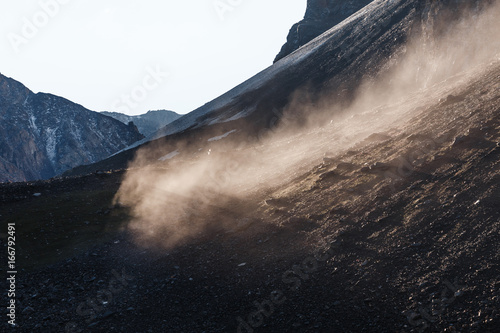 Fotografie, Obraz  rockfall and fog in the rocky mountains