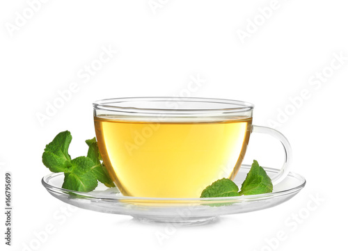 Staande foto Thee Cup of hot aromatic tea with lemon balm on white background